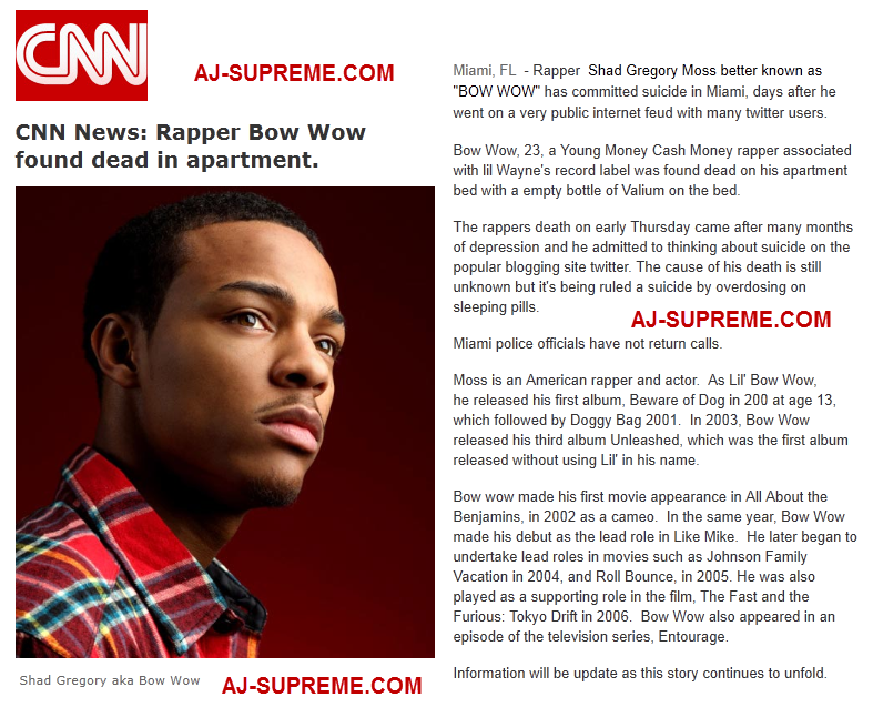 Bow Wow Is Dead Wwwshamstore